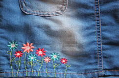 Detail of blue jeans skirt Royalty Free Stock Photography