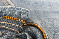 Detail of blue jeans zipper Royalty Free Stock Photo