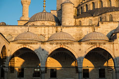 Detail of The Blue Mosque. The Blue Mosque (Sultan Ahmed Mosque) at the sunset time in Istanbul,Turkey Royalty Free Stock Photo