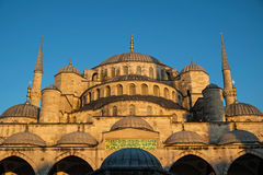 Detail of The Blue Mosque. The Blue Mosque (Sultan Ahmed Mosque) at the sunset time in Istanbul,Turkey Stock Photo
