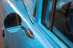 Detail of Blue oldtimer car in Cuba stock photos