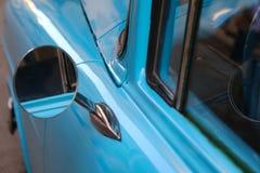 Detail of Blue oldtimer car in Cuba. Detail of Blue oldtimer car in Havana, Cuba Stock Photos