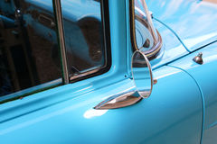 Detail of Blue oldtimer car stock photography
