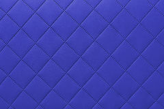 Detail of blue sewn leather, blue leather upholstery background pattern Stock Photography