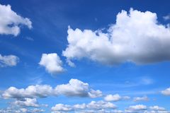 Blue sky with Cumulus clouds. Detail of blue sky with Cumulus clouds royalty free stock image
