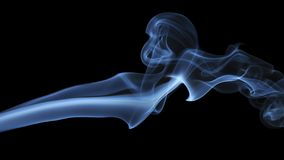Blue Smoke on black background. Detail of Blue Smoke on black background Stock Photo