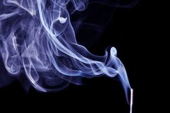 Blue Smoke on black background. Detail of Blue Smoke on black background Royalty Free Stock Photography