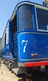 Detail of a blue tram. Royalty Free Stock Images