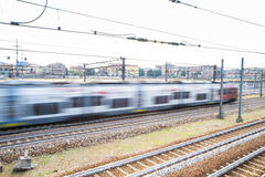 Detail blurred picture train on railway interchange Royalty Free Stock Photos