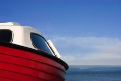 Detail of a boat with Sea and Sky Stock Photography