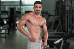 Detail Of A Bodybuilder Posing In The Gym Royalty Free Stock Photography