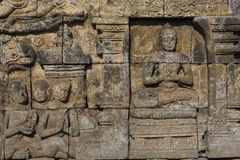 Detail from Borobudur temple at Central Java in Indonesia Stock Photos