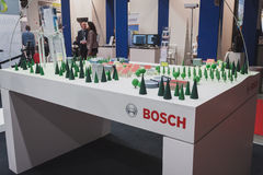 Detail of Bosch stand at Solarexpo 2014 in Milan, Italy Royalty Free Stock Photography