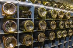 Detail with the bottom of some whine bottles. Alcohol Royalty Free Stock Photos