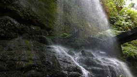 Detail bottom of a waterfall.Slow motion. Detail bottom of a waterfall, with a curtain of falling water with great force.Slow motion stock video footage