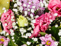 Detail of bouquet with decorative flowers Royalty Free Stock Photo