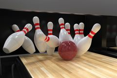 Bowling ball hitting all 10 pins, in a Strike