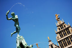 Detail of Brabo fountain in Antwerp. At the market square Stock Photo