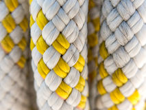 Detail of braided rope for boating. Close-up of braided polyester marine rope used on boats and yachts for rigging and mooring royalty free stock images