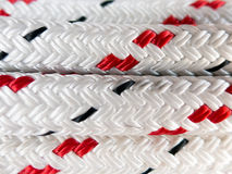 Detail of braided rope for boating. Close-up of braided polyester marine rope used on boats and yachts for rigging and mooring royalty free stock photo