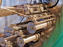 Detail of braiding machine taken closeup.Flexible metal hose pro Royalty Free Stock Photo