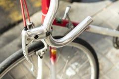Detail of brake and handlebar of a racing bike Stock Image