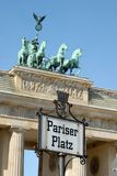 Detail of the Brandenburg Gate in Berlin. On the Parizer Platz royalty free stock images