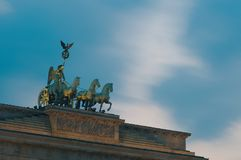 Detail of the Brandenburg Gate at dusk, Berlin, Germany royalty free stock photography