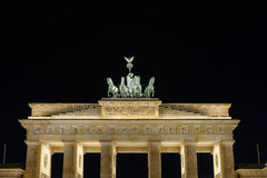 Detail of the Brandenburg Gate at night in Berlin Stock Photography