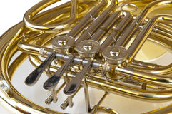 Detail of brass and silver horn Royalty Free Stock Photos