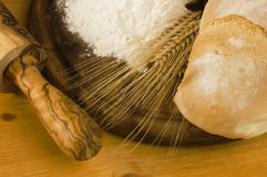 Detail of bread and flour Royalty Free Stock Photos