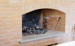 Detail of brick fireplace. In my house stock images