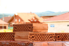 Detail of bricks in front of newly built houses Royalty Free Stock Photography