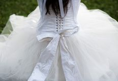 Detail of bridal dress Royalty Free Stock Photo