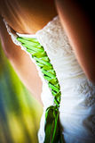 Detail of a bridal dress Royalty Free Stock Images