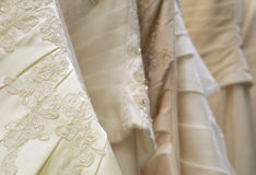 Detail of bridal gowns Stock Images