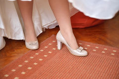 Detail of bridal legs with shoes Stock Image