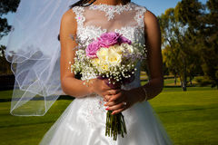 Detail Of A Bride And Boquet Stock Photos