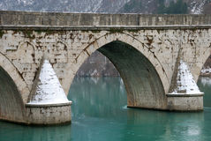 Detail of Bridge on Drina. Detail of the bridge on the Drina in Visegrad, Bosnia and Herzegovina on a winter overcast day royalty free stock photo