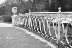 Detail of the bridge through the river the Slav in Pavlovsk park. Stock Photo