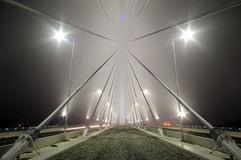 Detail of bridge's construction by foggy night Stock Photography