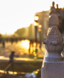 Detail of Bridge in Venice with Gondolier in the Background Stock Images