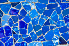 Detail of bright blue ceramic mosaics, Parc Guell Royalty Free Stock Photos
