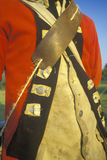 Detail of British Army uniform during  Revolutionary war historical reenactment Stock Images