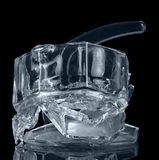 Detail of  broken glass jug isolated on  black background. Royalty Free Stock Photo