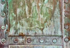 Detail of Bronze Door. With Weathered Finish royalty free stock photos