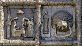 Detail of the bronze gates of St. Sophia Cathedral Stock Photos