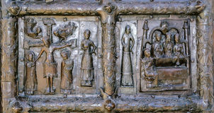 Detail of the bronze gates of St. Sophia Cathedral Royalty Free Stock Photography