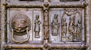 Detail of the bronze gates of St. Sophia Cathedral Stock Images