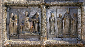 Detail of the bronze gates of St. Sophia Cathedral Stock Image